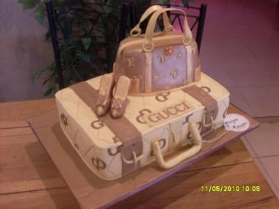 Gucci Suitcase and Louis Vuitton Handbag Model Cake