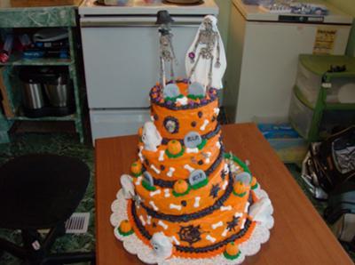 Halloween Bride & Groom Cake