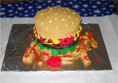 Hamburger and Fries Cake