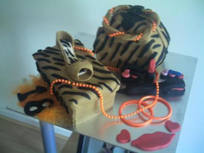 Handbag and Shoes Tiger Print Cake