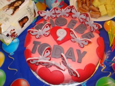 Hearts and Butterflies 9th Birthday Cake
