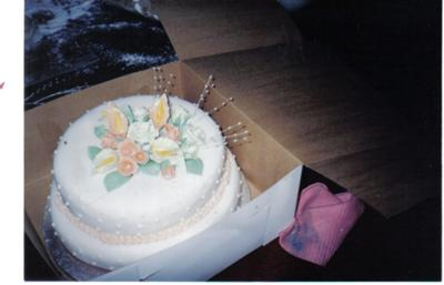 Peach Roses and White Lilies Cake