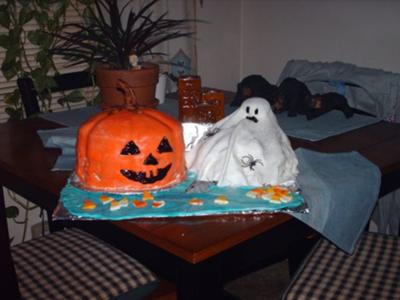 Pumpkin and Ghost Cake