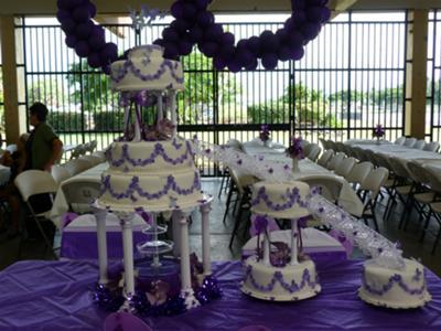 Purple Flowers and Butterflies Cake