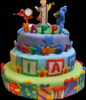 3 Tier First Birthday Cake