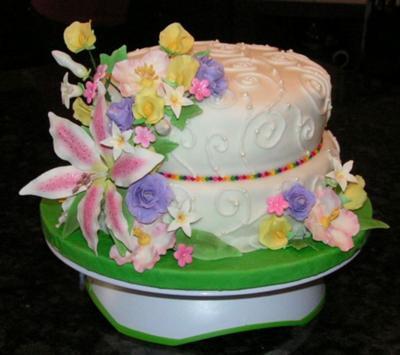 Spring Flowers Birthday Cake
