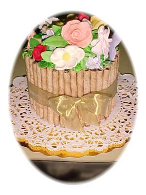 Straw Wafer Basket Flower Cake