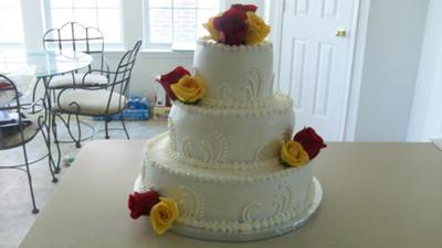 Three Tiered Flavored Wedding Cake