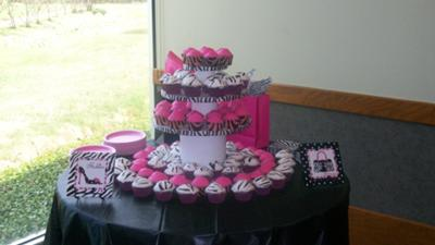 Zebra Print Bridal Shower Cupcakes